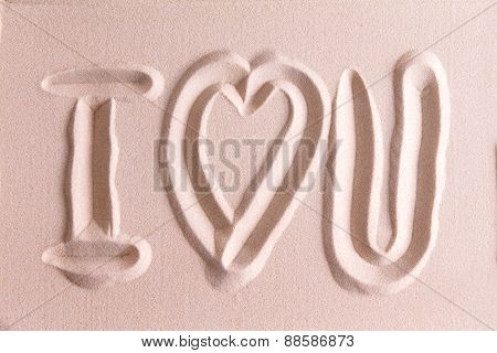 I Love You Drawn In Golden Beach Sand