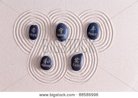 Zen Art With Stones On Golden Sand