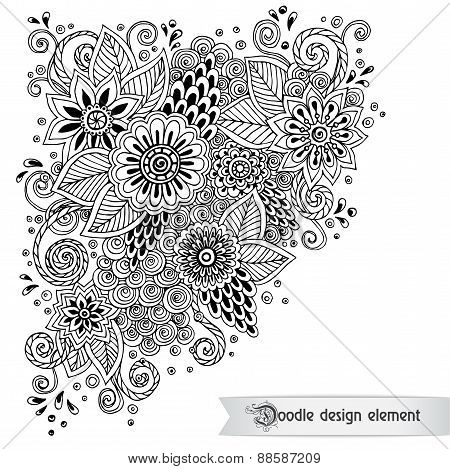 Floral retro doodle black and white pattern  in vector.