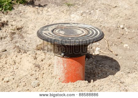 Sewer pipe in road construction site