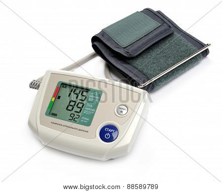 Tonometer - Digital blood pressure monitor on white background
