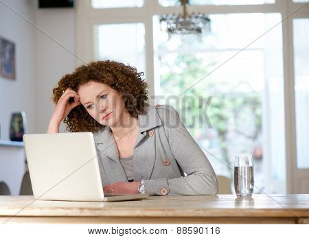 Attractive Older Woman Looking At Laptop At Home