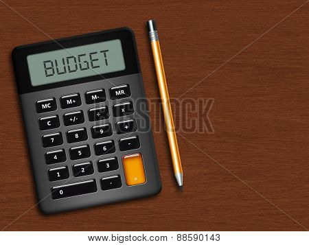 Calculator With Pencil Over Wooden Desk