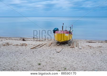 Fishing Boat On Beach. Beautiful Landscape