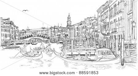 Venice - Grand Canal. View of the Rialto Bridge. The gondoliers floats on a gondola with tourists. Vector black & white sketch