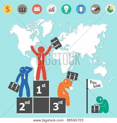 Businessman Is Winner And World Map And Business Icon ( Flat Design )