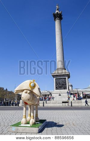 Shaun The Sheep At Trafalgar Square In London
