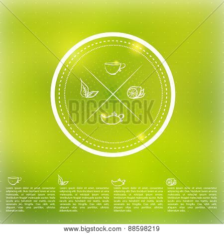 Vector tea badge infographics with leaves, lemon and cup on green blured background.EPS10