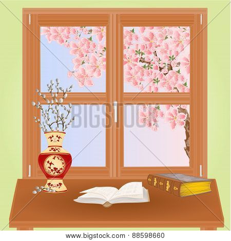 Spring Window With Sakura Vector