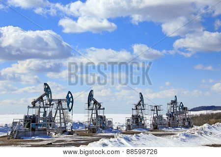 Oil Pumps In The Early Spring