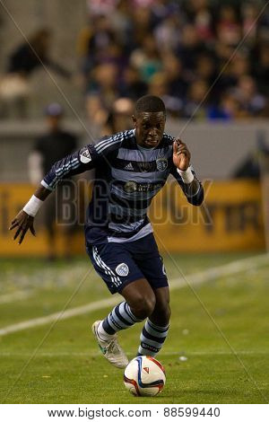 CARSON, CA. - APR 18: Jalil Anibaba in action during the L.A. Galaxy game against Sporting Kansas City on April 18, 2015 at the StubHub Center in Carson, California.