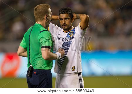 CARSON, CA. - APR 18: A.J. DeLAGarza during the L.A. Galaxy game against Sporting Kansas City on April 18, 2015 at the StubHub Center in Carson, California.