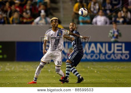 CARSON, CA. - APR 18: Bradford Jamieson (L) & Kevin Ellis in action during the L.A. Galaxy game against Sporting Kansas City on April 18, 2015 at the StubHub Center in Carson, California.