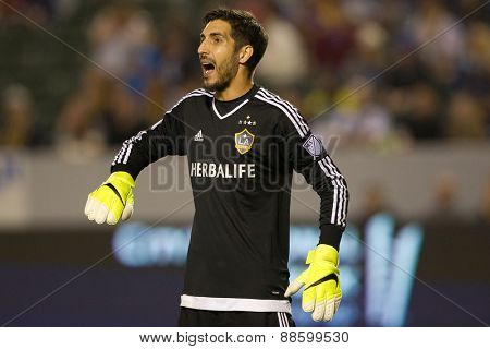 CARSON, CA. - APR 18: Jaime Penedo in action during the L.A. Galaxy game against Sporting Kansas City on April 18, 2015 at the StubHub Center in Carson, California.