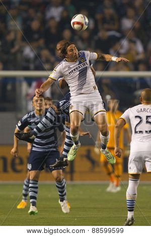 CARSON, CA. - APR 18: Alan Gordon in action during the L.A. Galaxy game against Sporting Kansas City on April 18, 2015 at the StubHub Center in Carson, California.