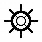 pic of ship steering wheel  - Vintage symbol of marine card with steering wheel - JPG