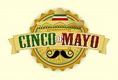 image of mexican fiesta  - Cinco de Mayo Vector Illustration with a Sombrero and Moustache - JPG