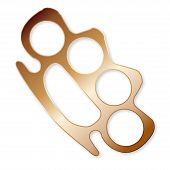 pic of brass knuckles  - A typical brass metal knuckle duster isolated on a white background - JPG