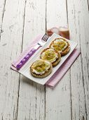 pic of red shallot  - bruschetta with mozzarella shallot and pepper - JPG