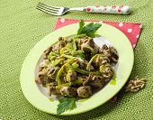 foto of stew  - stew meat with leek and pine nuts - JPG