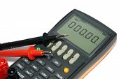picture of  multimeter  - Digital multimeter is on a white background - JPG