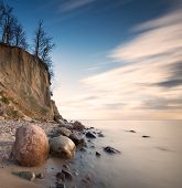 stock photo of cliffs  - Beautiful cliff on sea shore - JPG