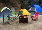 foto of tent  - tent and the camping fire, travel at beach of san diego ** Note: Soft Focus at 100%, best at smaller sizes - JPG
