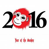 picture of monkeys  - The year of monkey Chinese symbol calendar in red on figures vector illustration - JPG