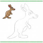 picture of kangaroo  - Connect the dots and coloring page  - JPG