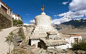 stock photo of jammu kashmir  - Stupas with beautiful clouds in Karsha gompa  - JPG