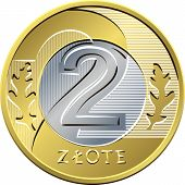 foto of zloty  - vector reverse Polish Money two zloty gold and silver coin with eagle in a golden crown - JPG