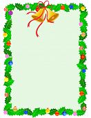 pic of holly  - Beautiful holly xmas frame with holly leaves christmas bells and decorative ornaments - JPG