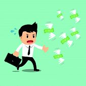 stock photo of money prize  - Businessman run to catch fly money vector illustration - JPG