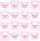 stock photo of baby pig  - Cute pig seamless pattern with pink pig faces - JPG