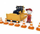 stock photo of bulldozer  - Yellow bulldozer near traffic cones and 3d small person - JPG