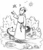 image of wild-rabbit  - Black and white illustration for kids of Saint Francis in a wood with wild animals - JPG