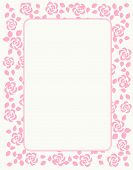 stock photo of bridal shower  - Rose border with beautiful pink roses - JPG