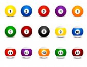 stock photo of snooker  - Collection of colorful snooker balls clipart isolated on white background - JPG