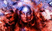 foto of mystical  - mystic face women with structure crackle background effect with star on forehead collage - JPG