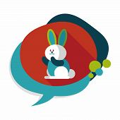 pic of cony  - Rabbit Flat Icon With Long Shadow - JPG