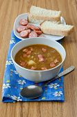 pic of sausage  - Lentil soup with sausages and potatoes - JPG