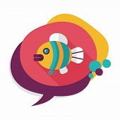 picture of long-fish  - Fish Toy Flat Icon With Long Shadow - JPG