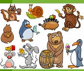 stock photo of cartoon animal  - Cartoon Illustration Set of Funny Animals with their Favorite Food - JPG