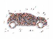 image of real-estate-team  - Large group of people in the form of the car - JPG