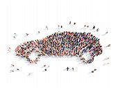 stock photo of real-estate-team  - Large group of people in the form of the car - JPG
