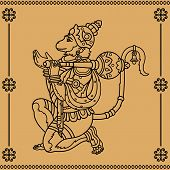 picture of hanuman  - Indian god Hanuman with the face of a monkey on a beige background - JPG