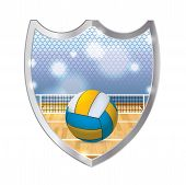 stock photo of volleyball  - An illustration of an indoor volleyball court net and volleyball inside a metal emblem - JPG