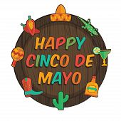 picture of plaque  - wooden plaque with mexican cinco de mayo decorations isolated on white - JPG