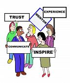 stock photo of mentoring  - Cartoon of businesspeople defining the characteristics of a mentor - JPG