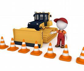 picture of bulldozers  - Yellow bulldozer near traffic cones and 3d small person - JPG